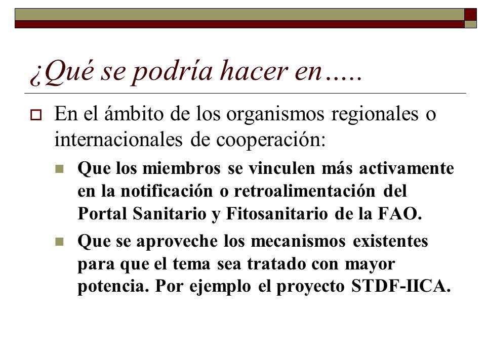 ¿Qué se podría hacer en….. En el ámbito de los organismos regionales o internacionales de cooperación: Que los miembros se vinculen más activamente en