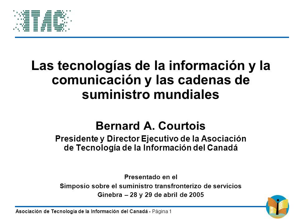 Asociación de Tecnología de la Información del Canadá - Página 1 Las tecnologías de la información y la comunicación y las cadenas de suministro mundi