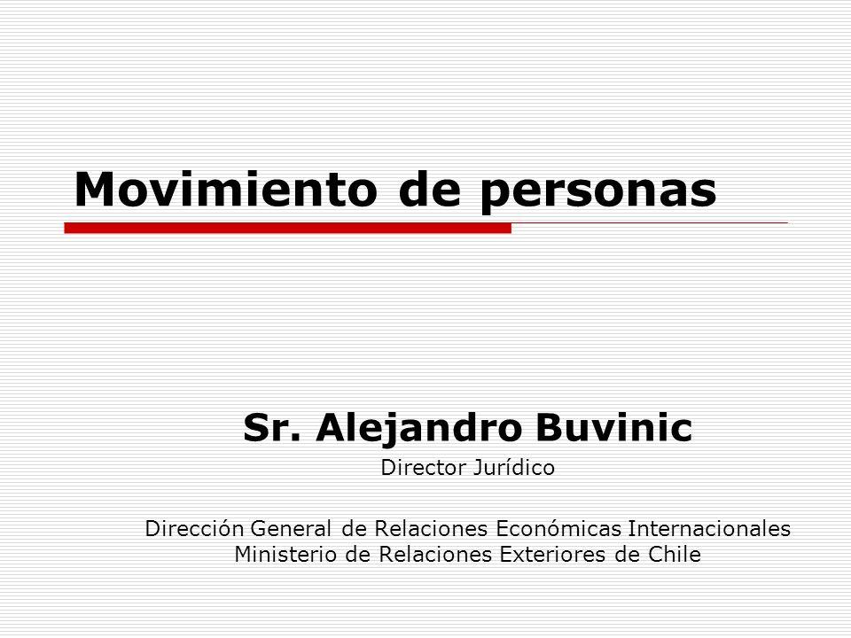 Movimiento de personas Sr. Alejandro Buvinic Director Jurídico Dirección General de Relaciones Económicas Internacionales Ministerio de Relaciones Ext