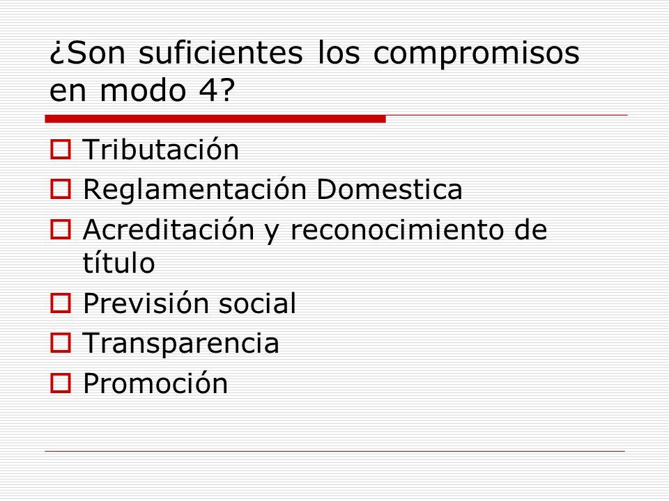 ¿Son suficientes los compromisos en modo 4? Tributación Reglamentación Domestica Acreditación y reconocimiento de título Previsión social Transparenci