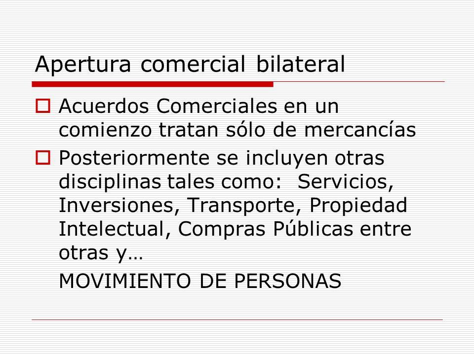 Apertura comercial bilateral Acuerdos Comerciales en un comienzo tratan sólo de mercancías Posteriormente se incluyen otras disciplinas tales como: Se