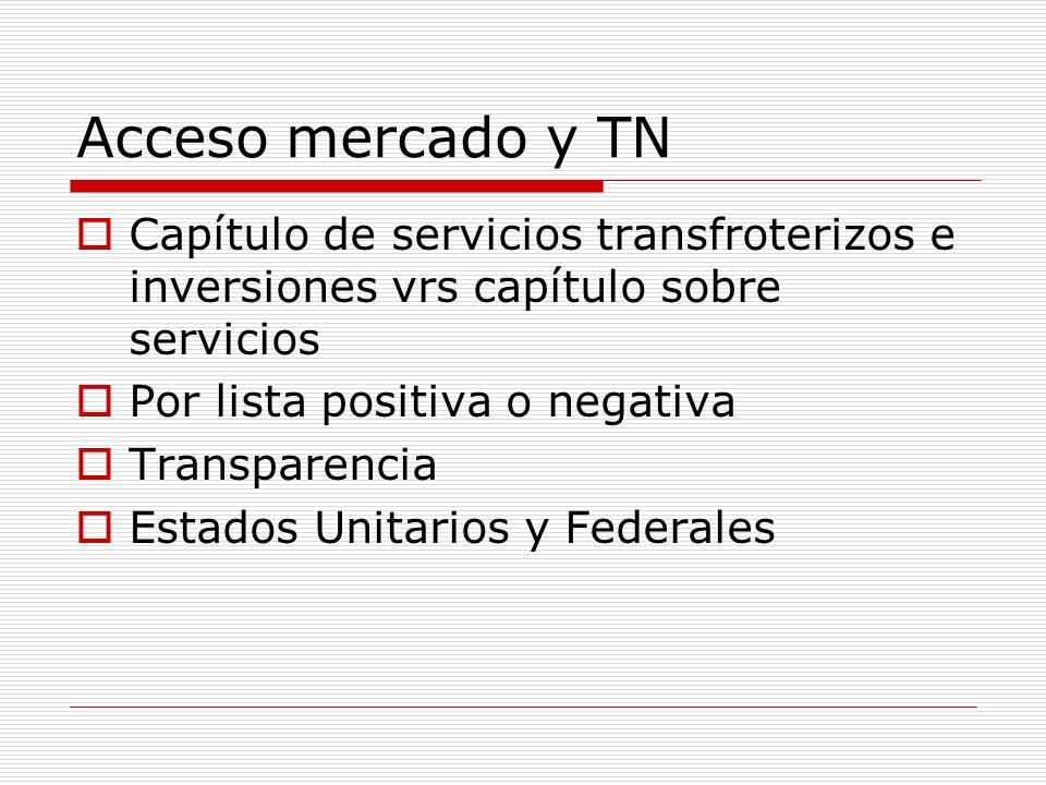 Acceso mercado y TN Capítulo de servicios transfroterizos e inversiones vrs capítulo sobre servicios Por lista positiva o negativa Transparencia Estad