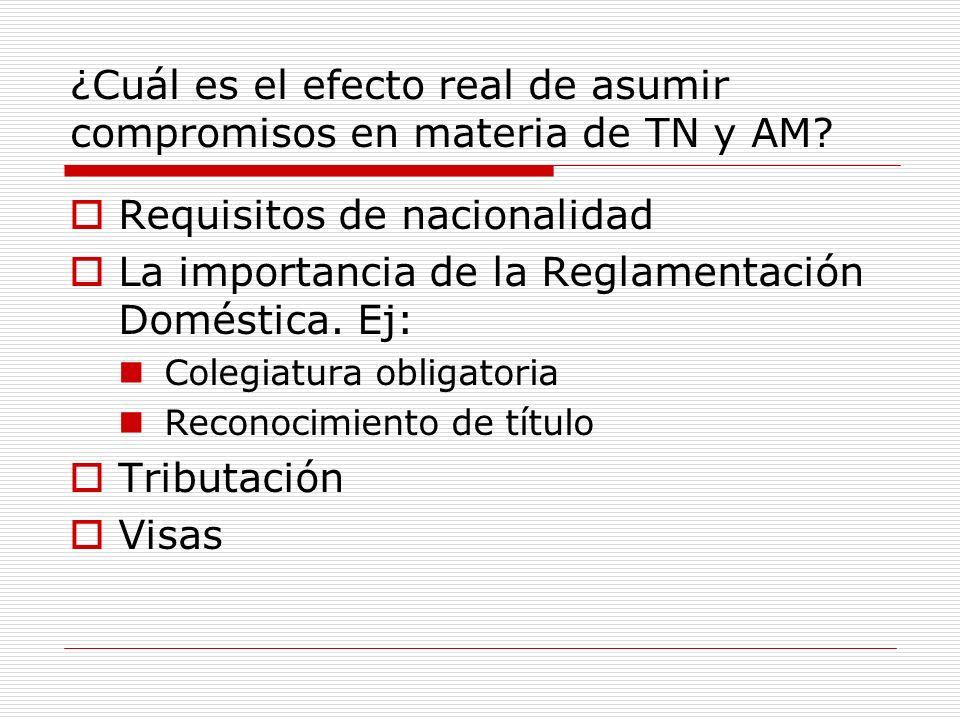 ¿Cuál es el efecto real de asumir compromisos en materia de TN y AM? Requisitos de nacionalidad La importancia de la Reglamentación Doméstica. Ej: Col