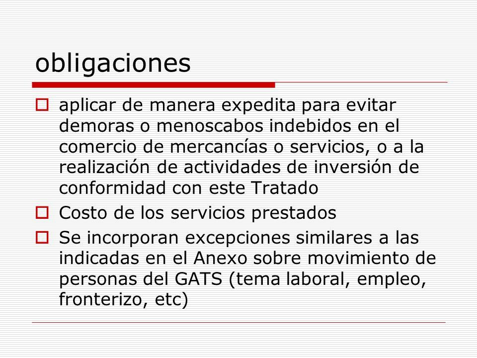 obligaciones aplicar de manera expedita para evitar demoras o menoscabos indebidos en el comercio de mercancías o servicios, o a la realización de act