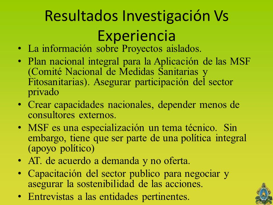 Resultados Investigación Vs Experiencia La información sobre Proyectos aislados.