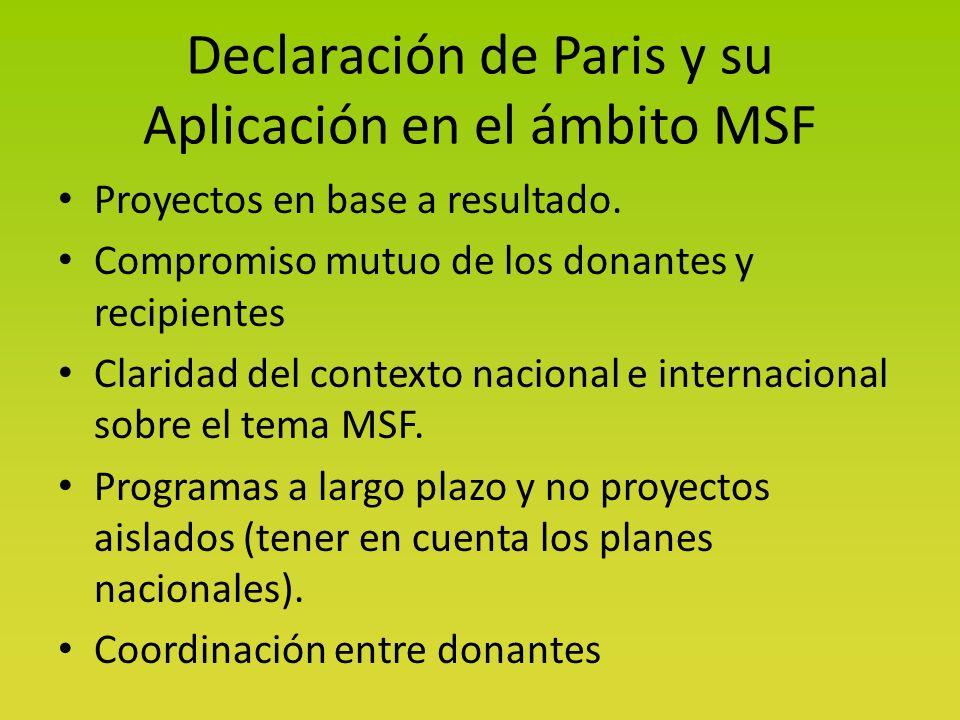 Declaración de Paris y su Aplicación en el ámbito MSF Proyectos en base a resultado.