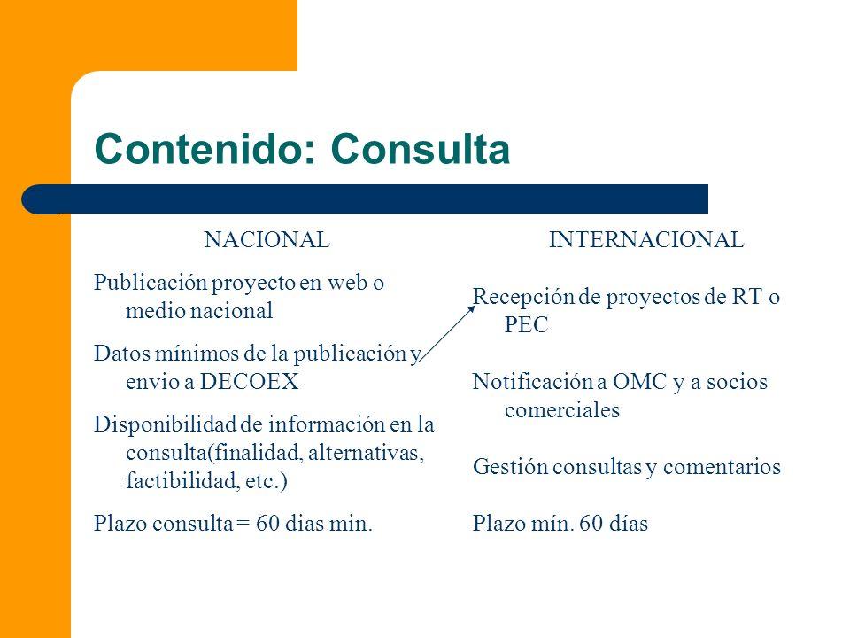 Contenido: Consulta NACIONAL Publicación proyecto en web o medio nacional Datos mínimos de la publicación y envio a DECOEX Disponibilidad de informaci