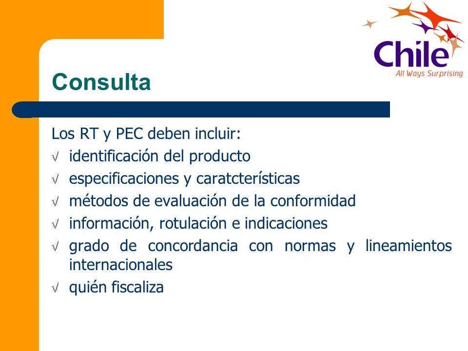 Consulta Los RT y PEC deben incluir: identificación del producto especificaciones y caratcterísticas métodos de evaluación de la conformidad informaci