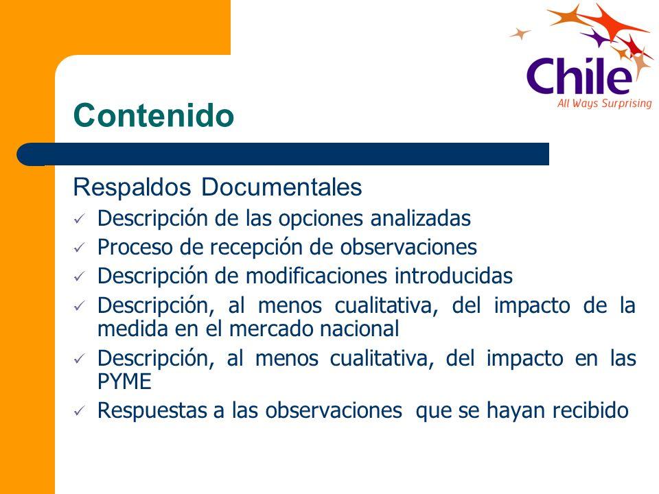 Contenido Respaldos Documentales Descripción de las opciones analizadas Proceso de recepción de observaciones Descripción de modificaciones introducid