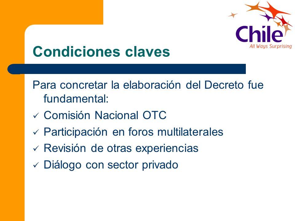 Condiciones claves Para concretar la elaboración del Decreto fue fundamental: Comisión Nacional OTC Participación en foros multilaterales Revisión de