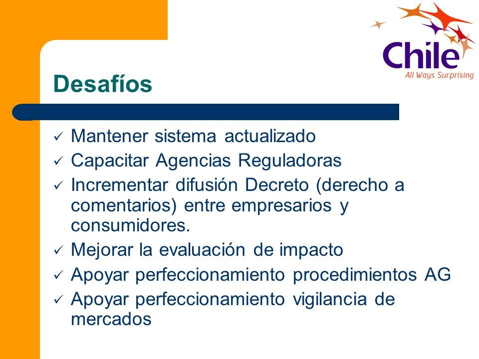 Desafíos Mantener sistema actualizado Capacitar Agencias Reguladoras Incrementar difusión Decreto (derecho a comentarios) entre empresarios y consumid