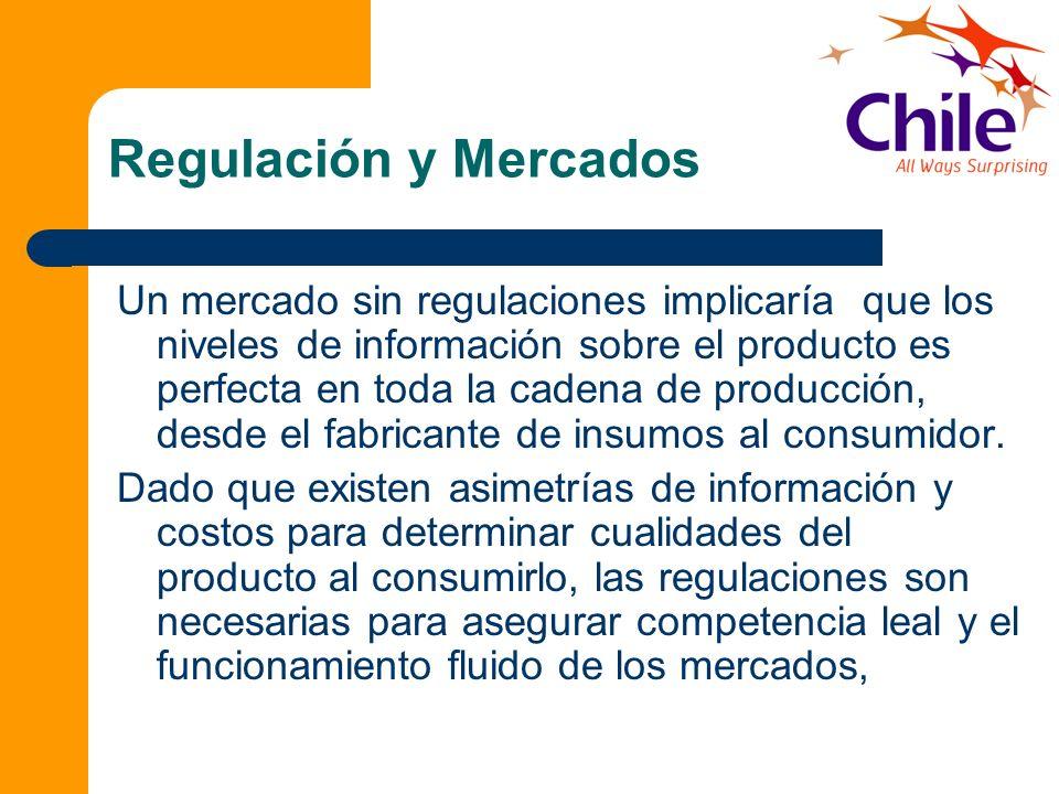 Regulación y Mercados Un mercado sin regulaciones implicaría que los niveles de información sobre el producto es perfecta en toda la cadena de producc