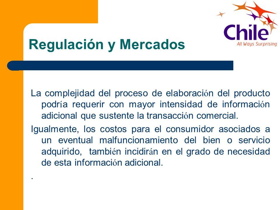 Regulación y Mercados La complejidad del proceso de elaboraci ó n del producto podr í a requerir con mayor intensidad de informaci ó n adicional que s