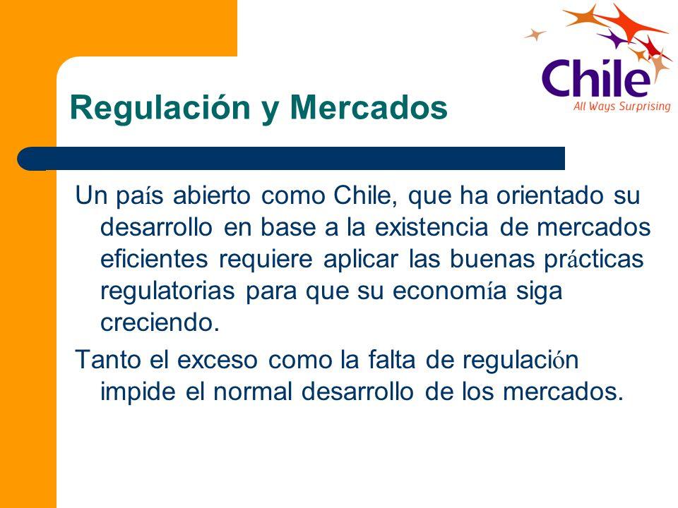 Regulación y Mercados Un pa í s abierto como Chile, que ha orientado su desarrollo en base a la existencia de mercados eficientes requiere aplicar las
