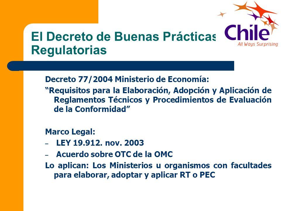 El Decreto de Buenas Prácticas Regulatorias Decreto 77/2004 Ministerio de Economía: Requisitos para la Elaboración, Adopción y Aplicación de Reglament