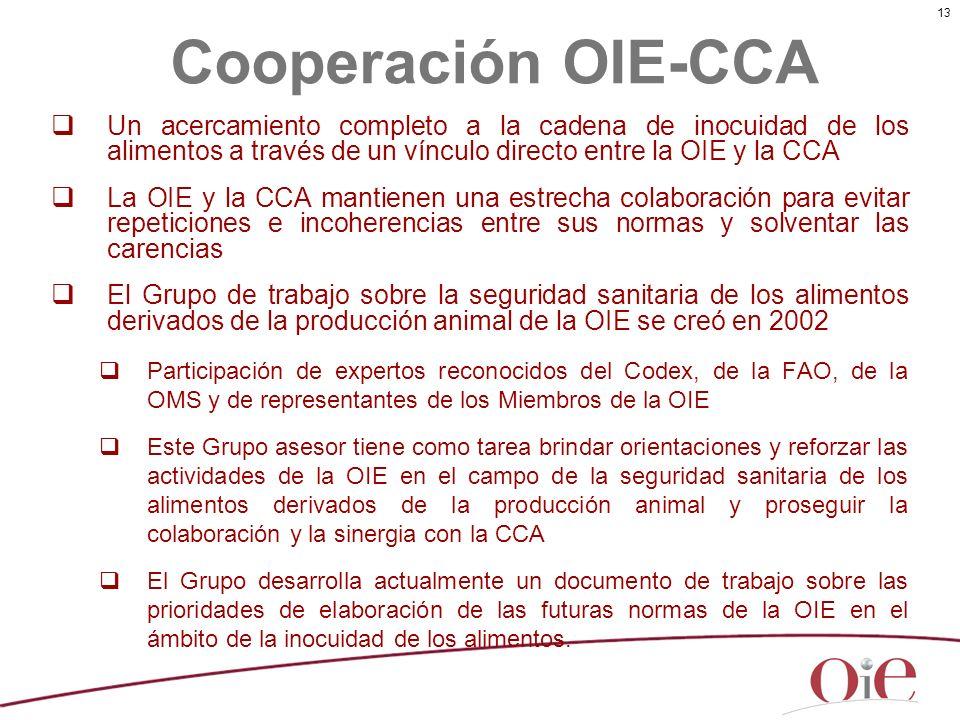 13 Un acercamiento completo a la cadena de inocuidad de los alimentos a través de un vínculo directo entre la OIE y la CCA La OIE y la CCA mantienen u