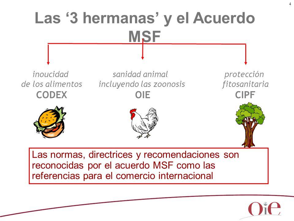 4 Las normas, directrices y recomendaciones son reconocidas por el acuerdo MSF como las referencias para el comercio internacional Las 3 hermanas y el