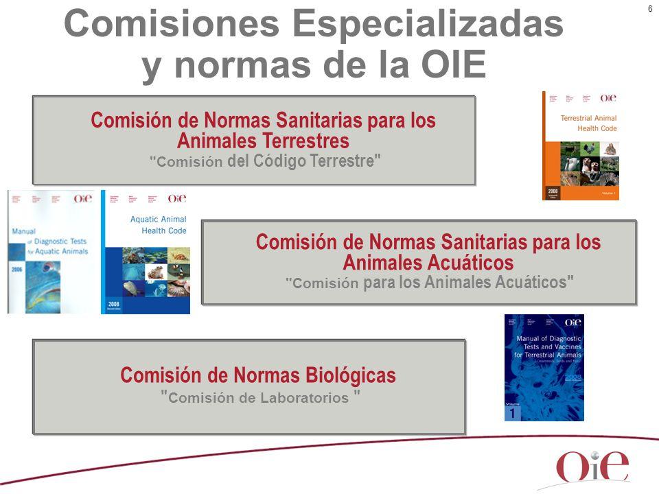 6 Comisiones Especializadas y normas de la OIE Comisión de Normas Biológicas