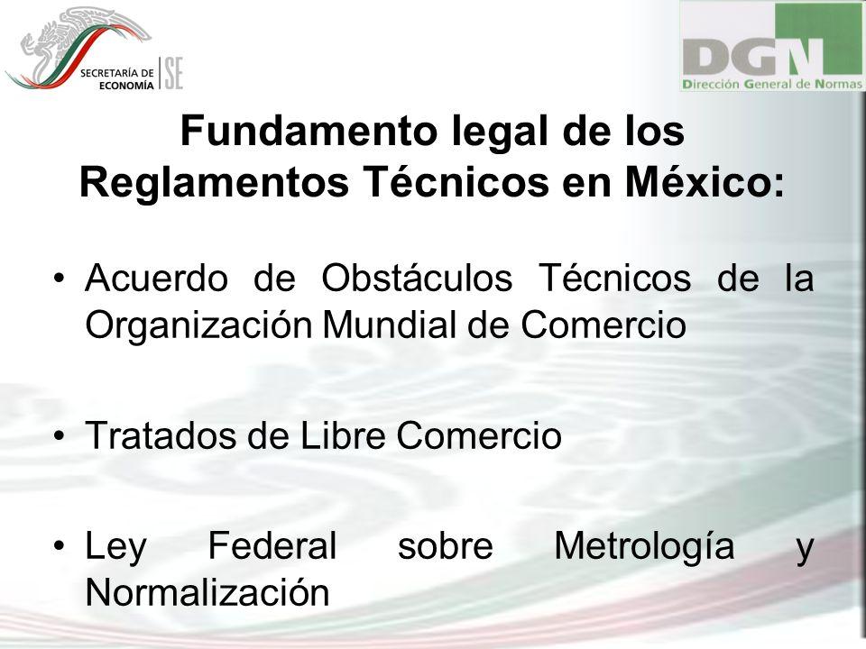 Fundamento legal de los Reglamentos Técnicos en México: Acuerdo de Obstáculos Técnicos de la Organización Mundial de Comercio Tratados de Libre Comerc