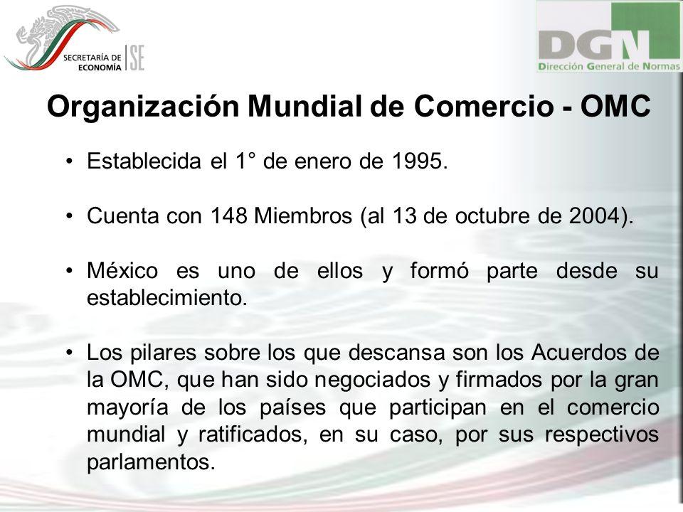 Organización Mundial de Comercio - OMC Establecida el 1° de enero de 1995. Cuenta con 148 Miembros (al 13 de octubre de 2004). México es uno de ellos
