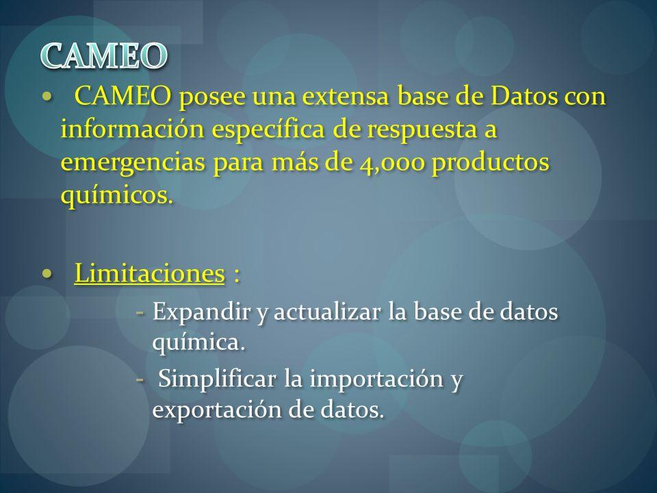 CAMEO posee una extensa base de Datos con información específica de respuesta a emergencias para más de 4,000 productos químicos. Limitaciones : - Exp