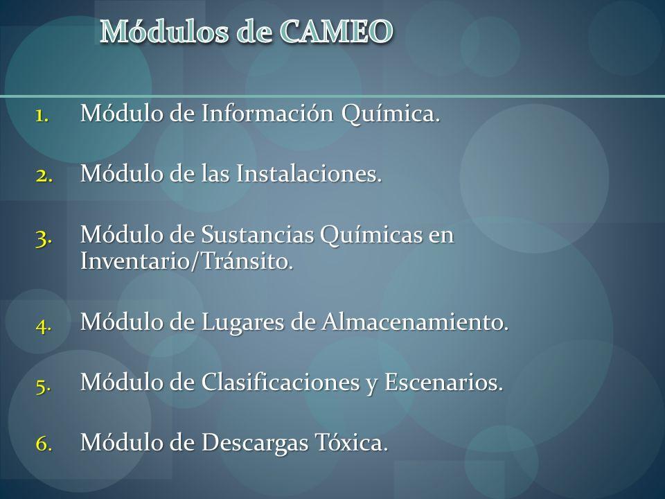 1.Módulo de Información Química. 2.Módulo de las Instalaciones. 3.Módulo de Sustancias Químicas en Inventario/Tránsito. 4. Módulo de Lugares de Almace