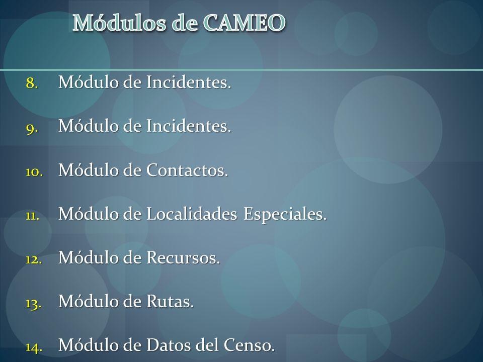 8. Módulo de Incidentes. 9. Módulo de Incidentes. 10. Módulo de Contactos. 11. Módulo de Localidades Especiales. 12. Módulo de Recursos. 13. Módulo de