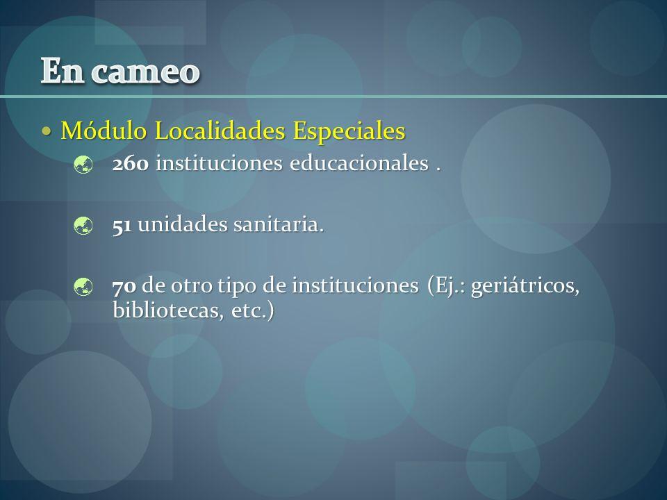 Módulo Localidades Especiales Módulo Localidades Especiales 260 instituciones educacionales. 260 instituciones educacionales. 51 unidades sanitaria. 5