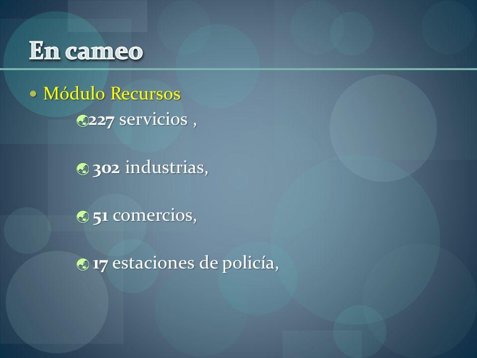 Módulo Recursos Módulo Recursos 227 servicios, 227 servicios, 302 industrias, 302 industrias, 51 comercios, 51 comercios, 17 estaciones de policía, 17