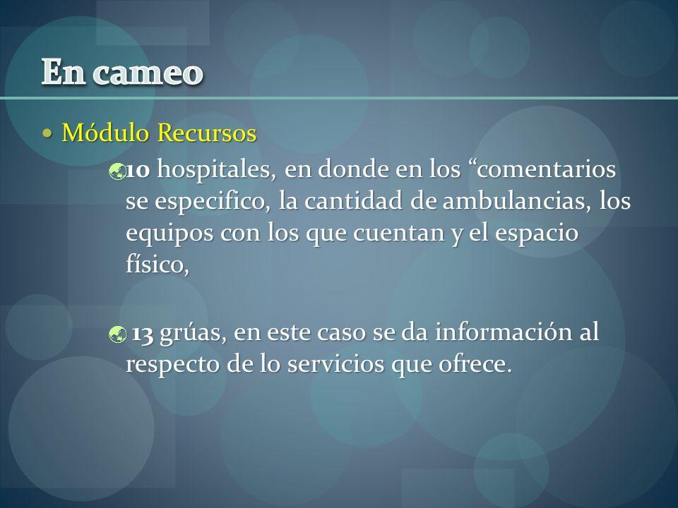 Módulo Recursos Módulo Recursos 10 hospitales, en donde en los comentarios se especifico, la cantidad de ambulancias, los equipos con los que cuentan