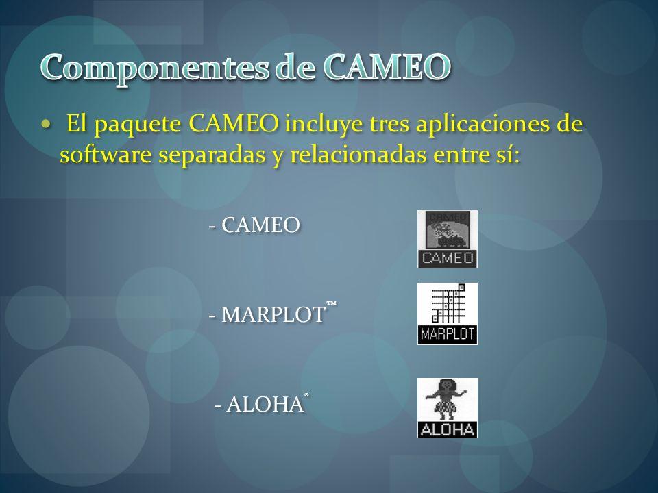 El paquete CAMEO incluye tres aplicaciones de software separadas y relacionadas entre sí: - CAMEO - MARPLOT - ALOHA ®