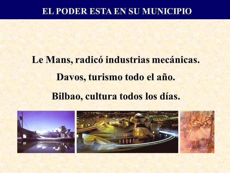 Le Mans, radicó industrias mecánicas. Davos, turismo todo el año. Bilbao, cultura todos los días.
