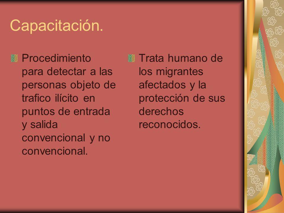 Capacitación. Procedimiento para detectar a las personas objeto de trafico ilícito en puntos de entrada y salida convencional y no convencional. Trata