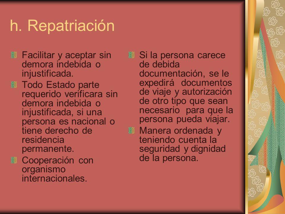 h. Repatriación Facilitar y aceptar sin demora indebida o injustificada. Todo Estado parte requerido verificara sin demora indebida o injustificada, s