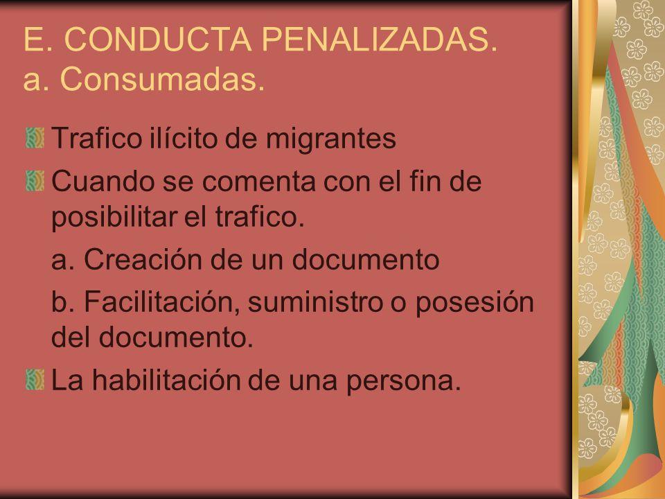 E. CONDUCTA PENALIZADAS. a. Consumadas. Trafico ilícito de migrantes Cuando se comenta con el fin de posibilitar el trafico. a. Creación de un documen