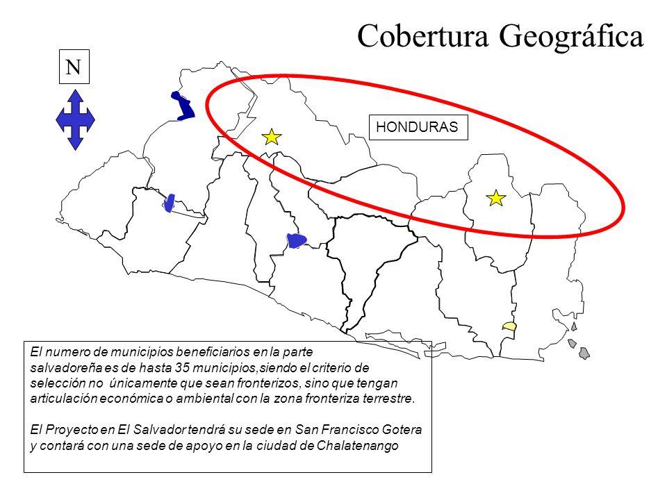 El numero de municipios beneficiarios en la parte salvadoreña es de hasta 35 municipios,siendo el criterio de selección no únicamente que sean fronter