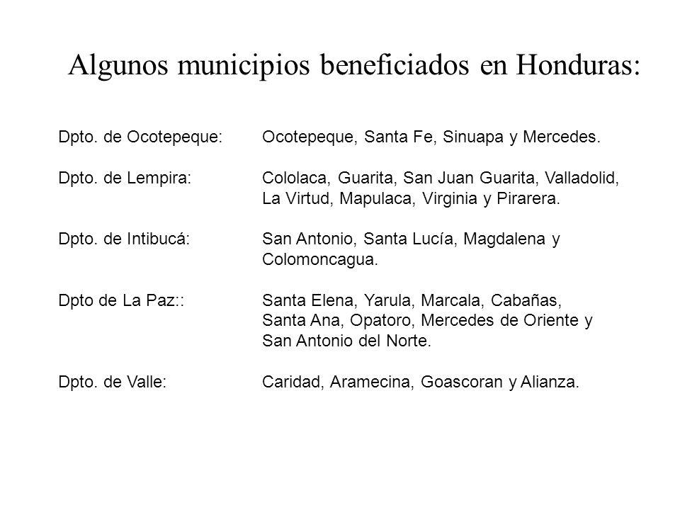 Dpto. de Ocotepeque: Ocotepeque, Santa Fe, Sinuapa y Mercedes. Dpto. de Lempira: Cololaca, Guarita, San Juan Guarita, Valladolid, La Virtud, Mapulaca,