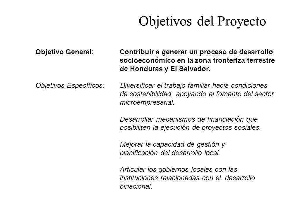 Objetivo General: Contribuir a generar un proceso de desarrollo socioeconómico en la zona fronteriza terrestre de Honduras y El Salvador. Objetivos Es
