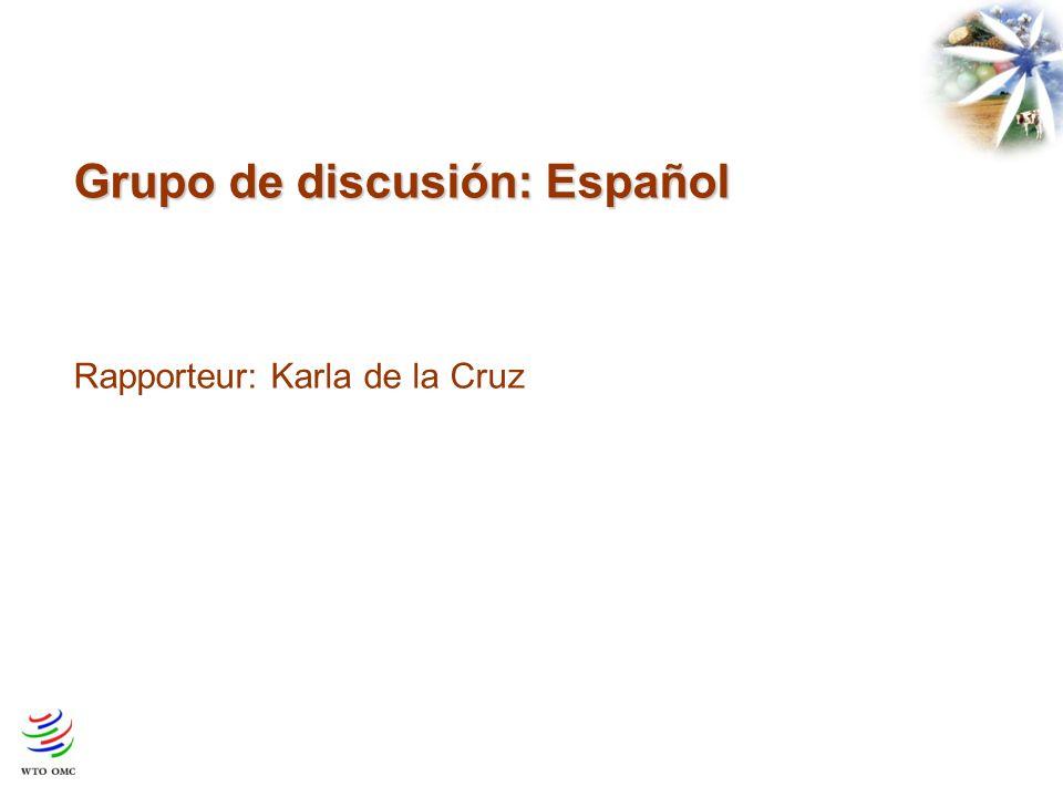 Grupo de discusión: Español Rapporteur: Karla de la Cruz