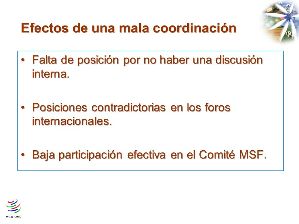 Efectos de una mala coordinación Falta de posición por no haber una discusión interna.Falta de posición por no haber una discusión interna.