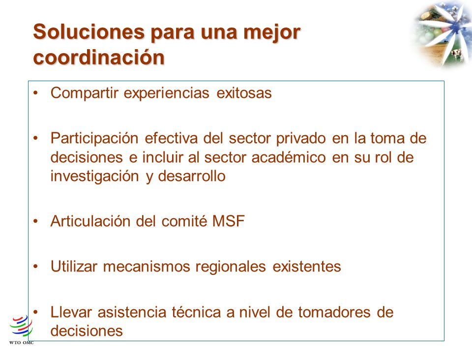 Soluciones para una mejor coordinación Compartir experiencias exitosas Participación efectiva del sector privado en la toma de decisiones e incluir al sector académico en su rol de investigación y desarrollo Articulación del comité MSF Utilizar mecanismos regionales existentes Llevar asistencia técnica a nivel de tomadores de decisiones
