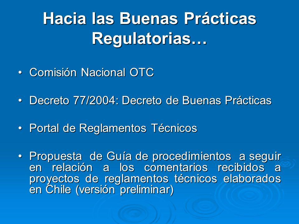 Hacia las Buenas Prácticas Regulatorias… Comisión Nacional OTCComisión Nacional OTC Decreto 77/2004: Decreto de Buenas PrácticasDecreto 77/2004: Decreto de Buenas Prácticas Portal de Reglamentos TécnicosPortal de Reglamentos Técnicos Propuesta de Guía de procedimientos a seguir en relación a los comentarios recibidos a proyectos de reglamentos técnicos elaborados en Chile (versión preliminar)Propuesta de Guía de procedimientos a seguir en relación a los comentarios recibidos a proyectos de reglamentos técnicos elaborados en Chile (versión preliminar)