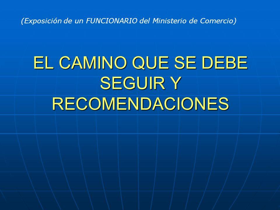 EL CAMINO QUE SE DEBE SEGUIR Y RECOMENDACIONES (Exposición de un FUNCIONARIO del Ministerio de Comercio)