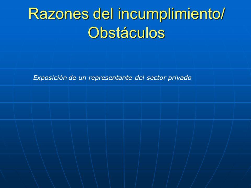 Razones del incumplimiento/ Obstáculos Exposición de un representante del sector privado