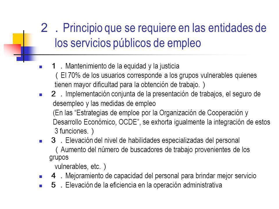 Principio que se requiere en las entidades de los servicios públicos de empleo Mantenimiento de la equidad y la justicia El 70% de los usuarios corresponde a los grupos vulnerables quienes tienen mayor dificultad para la obtención de trabajo.