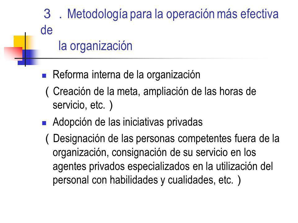 Metodología para la operación más efectiva de la organización Reforma interna de la organización Creación de la meta, ampliación de las horas de servicio, etc.