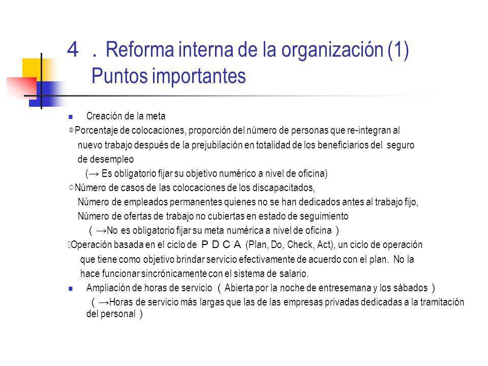 Reforma interna de la organización (1) Puntos importantes Creación de la meta Porcentaje de colocaciones, proporción del número de personas que re-int