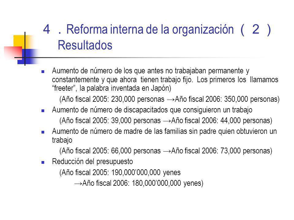 Reforma interna de la organización Resultados Aumento de número de los que antes no trabajaban permanente y constantemente y que ahora tienen trabajo fijo.