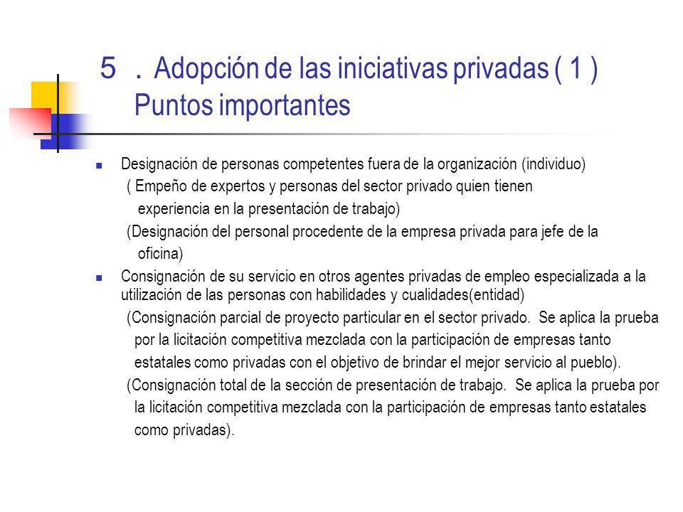 Adopción de las iniciativas privadas ( 1 ) Puntos importantes Designación de personas competentes fuera de la organización (individuo) ( Empeño de exp