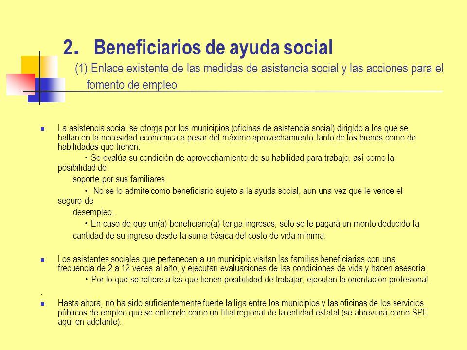 2 Beneficiarios de ayuda social (2) Fortalecimiento de enlace entre las medidas de asistencia social y las acciones para el fomento de empleo Mejoramiento en la aplicación del régimen de asistencia social a partir del año 2005 Fomentan cada uno de los municipios para formular un programa de promoción de la autonomía de los amparados.